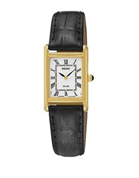 Seiko Ladies Dress Solar Watch With Leather Strap Black