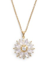 Nina Layer Floral Pendant Necklace Pink Opal Gold