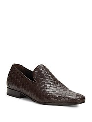 Roberto Cavalli Woven Leather Loafers Brown
