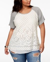Eyeshadow Trendy Plus Size Lace Front Top Heather Grey