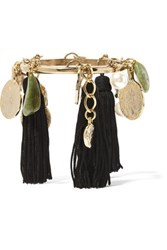 Oscar De La Renta Gold Plated Tasseled Silk Faux Pearl And Stone Bracelet One Size