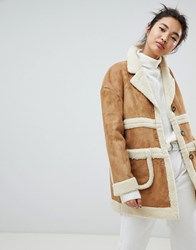 Neon Rose Collared Coat In Faux Shearling Beige