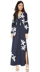 Tory Burch Jillian Caftan Maxi Dress Tory Navy New Ivory