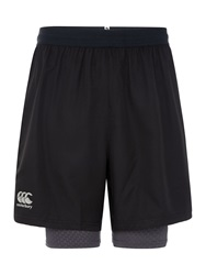 Canterbury Of New Zealand 2 In 1 Cotton Run Shorts Black