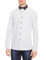 Kenneth Cole Contrast Collar Sportshirt White