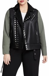 Rachel Roy Plus Size Studded Faux Leather Moto Jacket Black Army