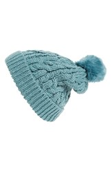 Hinge Women's Knit Pompom Beanie Blue Green Teal Britt