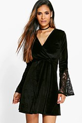 Boohoo Velvet Crochet Sleeve Wrap Skater Dress Black