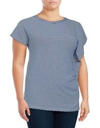 Joan Vass Plus Striped Ruched Tee Navy White