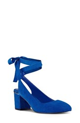 Nine West Women's Andrea Ankle Wrap Pump Blue Suede