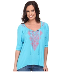 Rock And Roll Cowgirl 3 4 Sleeve Top Aqua Women's Long Sleeve Pullover Blue