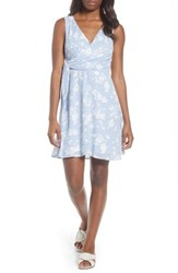 Bobeau Surplice Side Tie Fit And Flare Dress Blue White Print