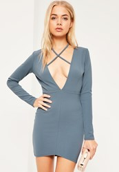 Missguided Blue Tie Neck Plunge Long Sleeve Bodycon Dress