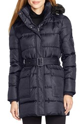 Women's Lauren Ralph Lauren Faux Fur Trim Belted Down And Feather Fill Coat Dark Navy