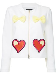 Boutique Moschino Embroidered Hearts Bow Applique Jacket White