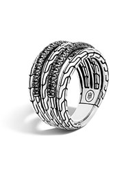 John Hardy Classic Chain Silver Lava Five Row Ring With Black Sapphire And Black Spinel Black Silver