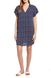 Bobeau Print Shirtdress Navy Stripe