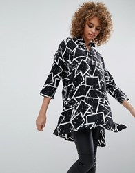 Noisy May Sandra Graffiti Shirt Dress Black And White