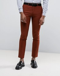 Noose And Monkey Super Skinny Suit Trousers Rust Orange