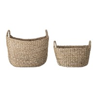 Bloomingville Water Hyacinth Basket With Handles Set Of 2