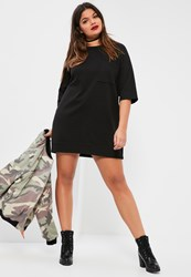 Missguided Plus Size Black Oversized Pocket Front Sweater Dress