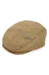 Men's Paul Leinburd Tweed Wool Driving Cap Metallic Gold Glencheck