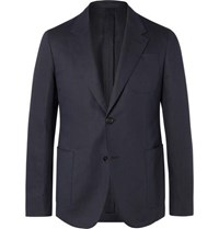 Berluti Navy Slim Fit Unstructured Cotton And Linen Blend Twill Suit Jacket Navy