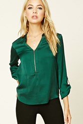 Forever 21 Satin Zip Front Blouse