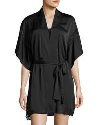 Natori Feathers Lace Inset Satin Robe Black