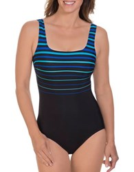 Reebok Winning Streak One Piece Squareneck Swimsuit Blue