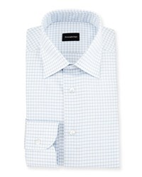 Ermenegildo Zegna Box Check Twill Dress Shirt White