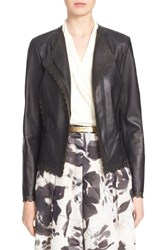 Women's St. John Collection Laser Cut Luxe Nappa Leather Jacket