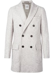 Eleventy Double Breasted Coat Grey