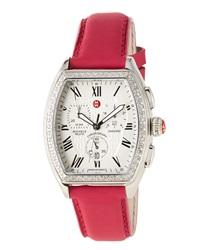 Michele Releve Diamond Watch W Leather Strap Pink
