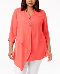 Ny Collection Plus Size Asymmetrical Top Nectarine