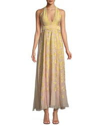 J. Mendel V Neck Halter Sleeveless Silk Jacquard Gown Yellow Pink