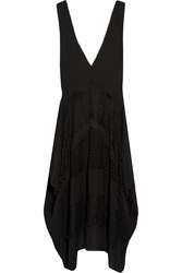 Issa Yumi Lace Paneled Crepe Dress Black