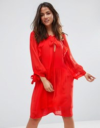 Mango Ruffle Trim Dress Red