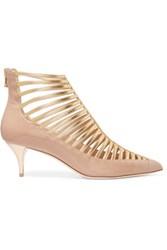 Balmain Metallic Patent Leather Pumps Beige