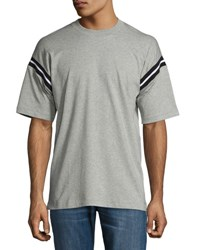 Rag And Bone Arden Varsity Stripe Sleeve T Shirt Light Heather Gray Light Gray