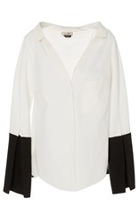 Hellessy Bessette Ecru Collar Off The Shoulder Shirt White