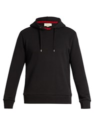 Gucci Ribbed Neck Hooded Cotton Sweatshirt Black Multi