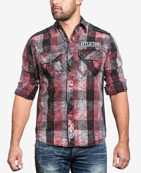 Affliction Men's Night Ride Woven Shirt Maroon