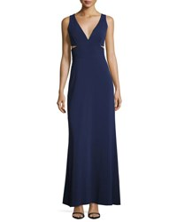 Laundry By Shelli Segal Side Cutouts V Neck Gown Dark Blue