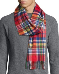 Begg And Co Langley Plaid Lambswool Angora Scarf Reeve Red