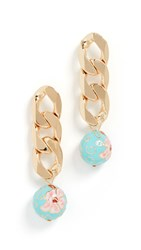 Baublebar Link And Bead Drop Earrings Multi Gold