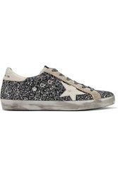 Golden Goose Deluxe Brand Superstar Distressed Glittered Leather Sneakers Silver