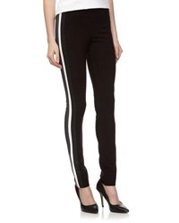 Fade To Blue Faux Leather Striped Ponte Pants 001