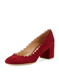 Chloe Lauren Scalloped Suede Block Heel Pump Tan Camel