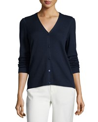 Carolina Herrera Long Sleeve Button Front Cardigan Deep Navy